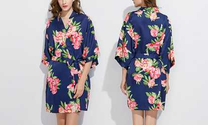 Shop Groupon Pretty Bash Peony Satin Robe. Plus Sizes Available. a26abe61e
