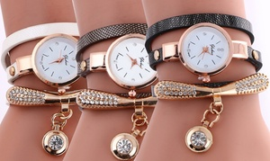 (Bijou) Montre double bracelet cristal -80% réduction