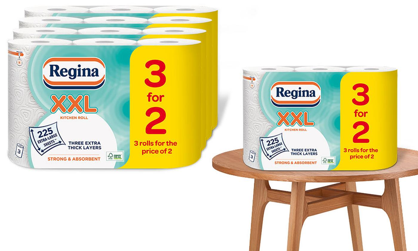 12 Rolls of Regina XXL 3 for 2 Kitchen Towels