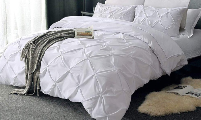 Up To 8 Off On Pintuck Duvet Cover Set Groupon Goods
