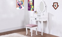 Vintage Antique-Style Dressing Table and Stool