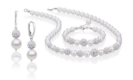 129,99 zł zamiast 1199 zł: 3-częściowy zestaw biżuterii Coccola w kolorze białym ze stopniowanych pereł i kryształów