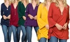 Women's Side Twist Top in Long Bell Sleeves. Plus Sizes Available.