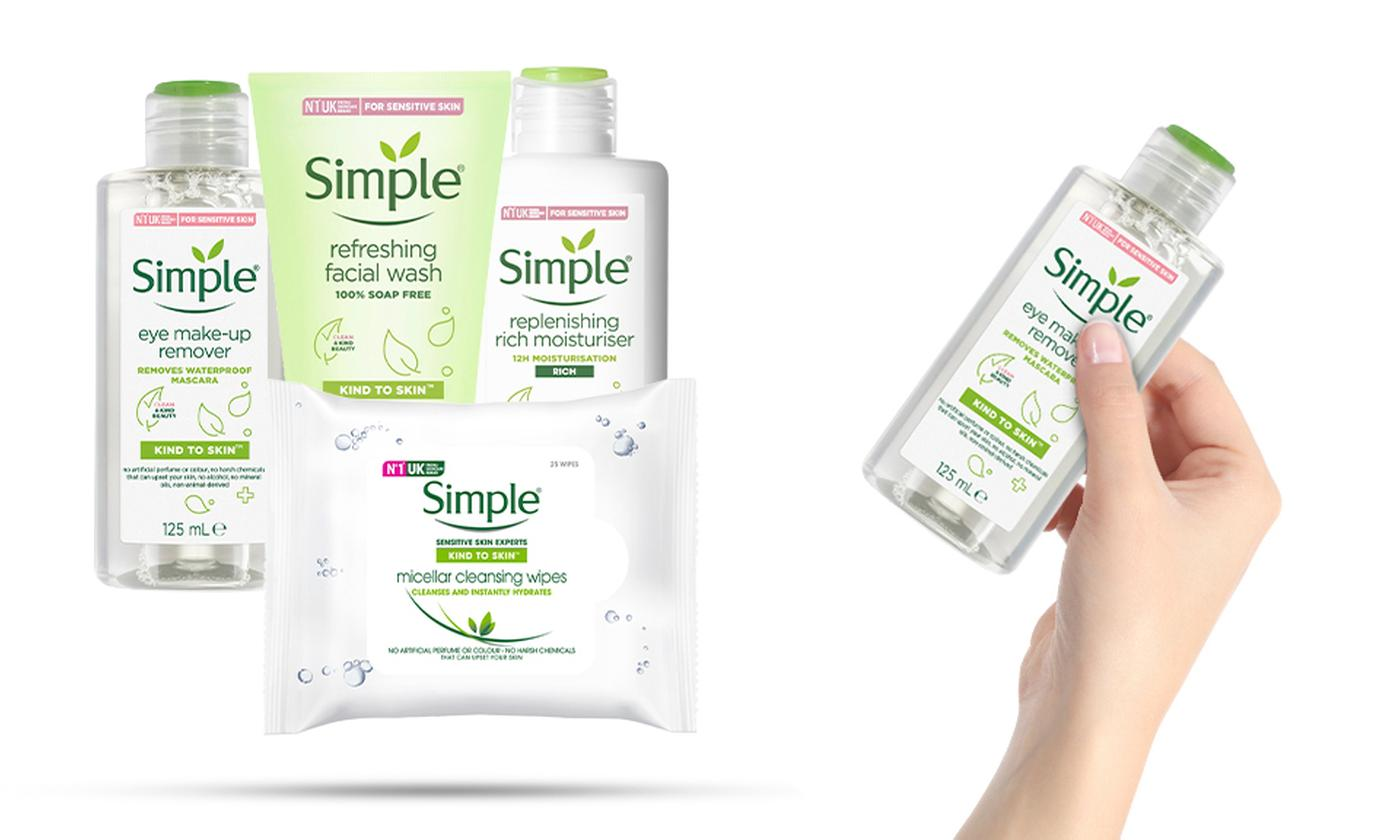 Simple Skincare Bundle: Kind Eyes Remover, Facial Washing Gel, Micellar Cleaning Wipes and Rich Moisturiser