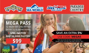 Village Roadshow Theme Parks: $99 for a 12-Month MEGA PASS to Warner Bros. Movie World, Sea World, Wet'n'Wild Gold Coast + Paradise Country