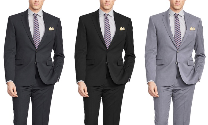 Verno Men's Classic or Slim Fit Pinstripe Suits (2-Piece)