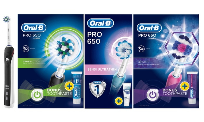 Oral B Pro 650 Cross Action, 650 3DWhite or 650 Sensi Electric Toothbrush with Toothpaste