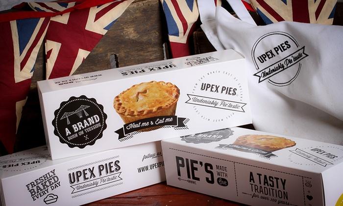 Six Steak & Gravy, Mince and Onion, Chicken Balti, Chicken and Gravy Pies, or Steak and Kidney Pies from Upex Pies