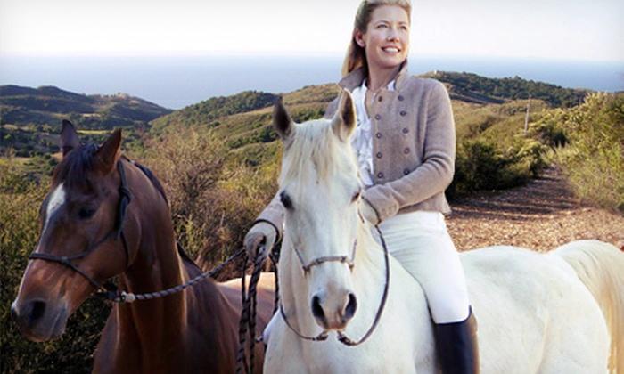 Malibu Horses by Inge Halliday - Agoura Hills-Malibu: Horseback-Riding Lesson with Optional Wine Tasting from Malibu Horses by Inge Halliday (Up to 59% Off)