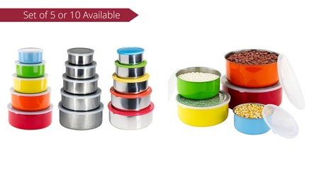 Nested Stainless Steel Storage Bowl Set in Choice of Finish: FivePiece Set $15 or TenPiece Set $25