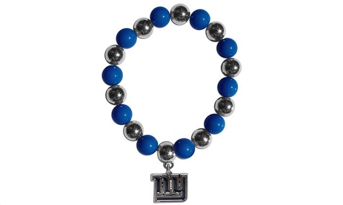 New York Giants Chrome Fan Bead Bracelet