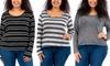 Women's Plus-Size High Low Striped Dolman Top
