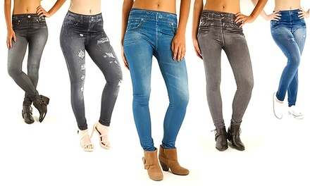 One or Two ThreePacks of FleeceLined Slimming Jeggings