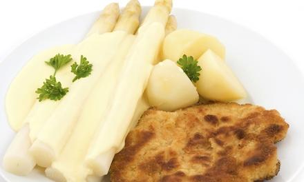 3 Gänge Menü mit Spargel und paniertem Schnitzel für 2 oder 4 Personen im Café Melanie (bis zu 57% sparen*)
