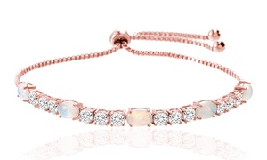 Fiery Opal Tennis Bracelet With Swarovski Elements by Nina & Grace