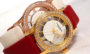 Akribos XXIV Ladies' Watch with Transparent Crystal Heart Dial