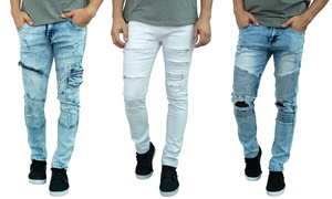 Men's Premium Washed European Skinny-Fit Distressed Biker Jeans
