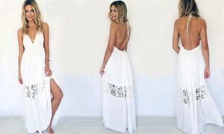 Vestido de encaje blanco Alixia con detalle de encaje
