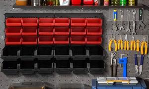 Panneau mural avec 30 bacs outils
