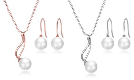 Parure boucles d'oreilles et collier avec pendentif en perle naturelle