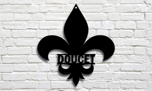 Personalized Family Name Fleur-de-lis Metal Sign