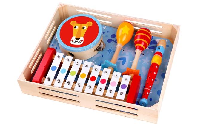 Tamburello Maracas Set di strumenti musicali Tooky Toy Flauto e Xilofono