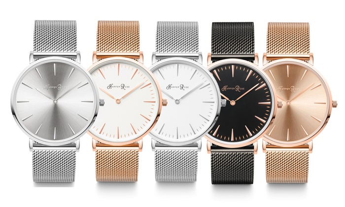 Harper Rose Mesh Watch With Free Delivery