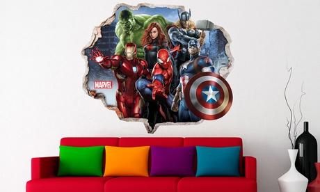 Vinilos decorativos de pared de superhéreoes Marvel por 29,98 € (78% de descuento)