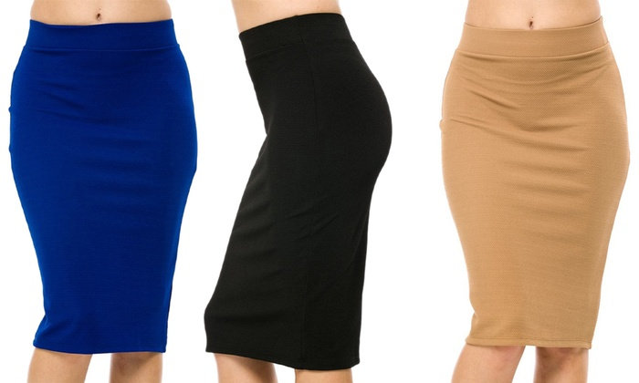 Women's Plus Size Pencil Skirts (3-Pack)