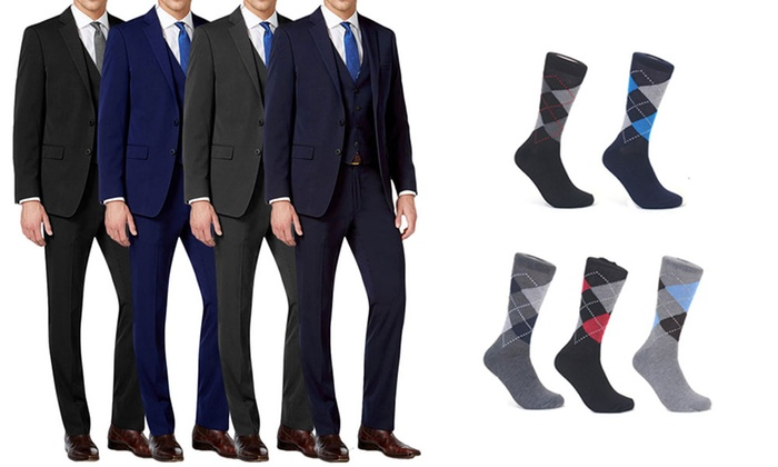 Mario Rossi Men's 3-Piece Slim-Fit Suits with Argyle Socks