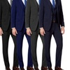 Mario Rossi Men's 3-Piece Slim-Fit Suits with Argyle Socks
