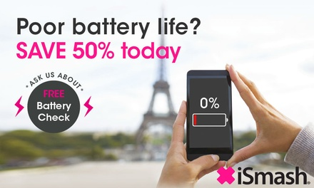 iPhone Battery Replacement for a Choice of Model or Phone Wipes at iSmash, Multiple Locations