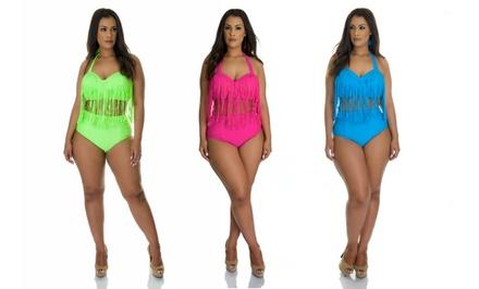 Plus-Size Fringed Bikini