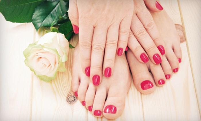 1st SPA & NAILS - West Columbia: Spa Mani-Pedi with Paraffin, or Gel Manicure and Spa Pedicure with Sea-Salt Scrub at 1st Spa & Nails (Up to 52% Off)