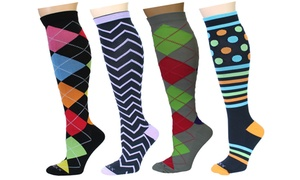 REXX Support and Recovery Women's Compression Socks (4-Pack)