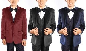 Kids' Solid Velvet Suit Set (5-Piece)