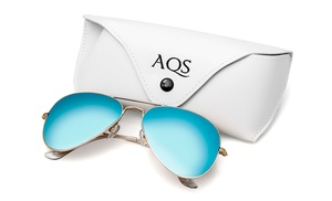 Aqs Mirrored Sunglasses  aqs james uni mirrored aviator sunglasses groupon
