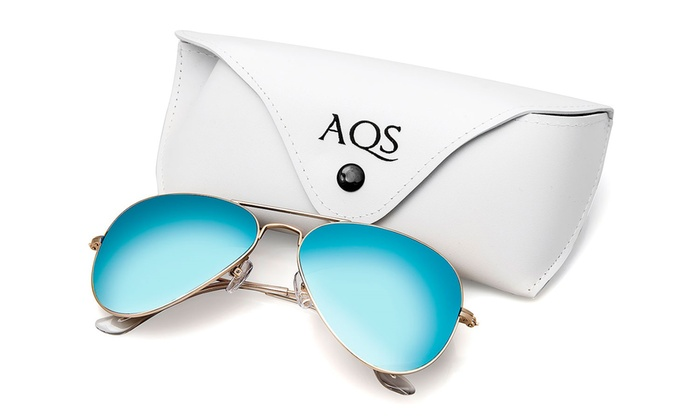 AQS James Unisex Mirrored Aviator Sunglasses