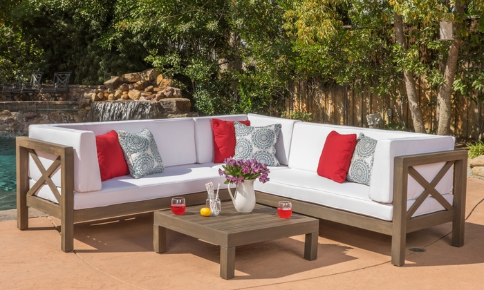 Ohana Outdoor Wooden Sectional Sofa And Table Set (4 Piece) ...