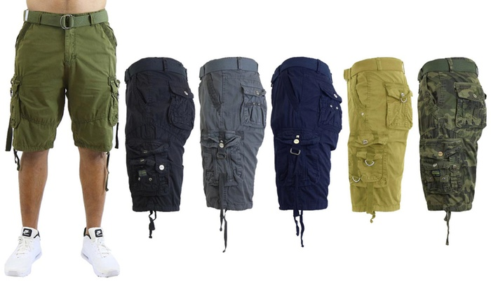 0ded133f77 Men's Slim-Fit Distressed Cotton Belted Cargo Shorts (Sizes 30-48)