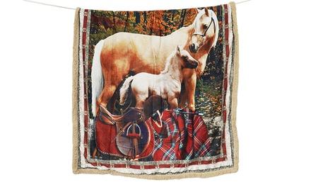 Plaid agnellato con stampa digitale raffigurante cavalli