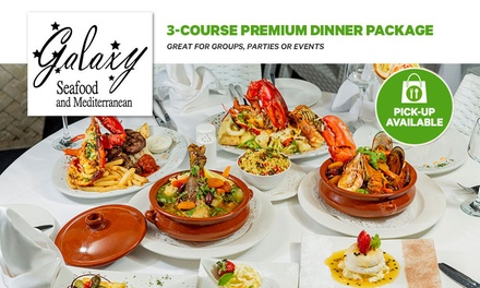 3-Course Dinner Pckg: 1 ($35), 2 ($69), 4 ($138), 10 ($345) or 20 Ppl ($659) @ Galaxy Seafood & Mediterranean Restaurant