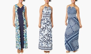 London Times Printed Maxi Dresses. Plus Sizes Available.