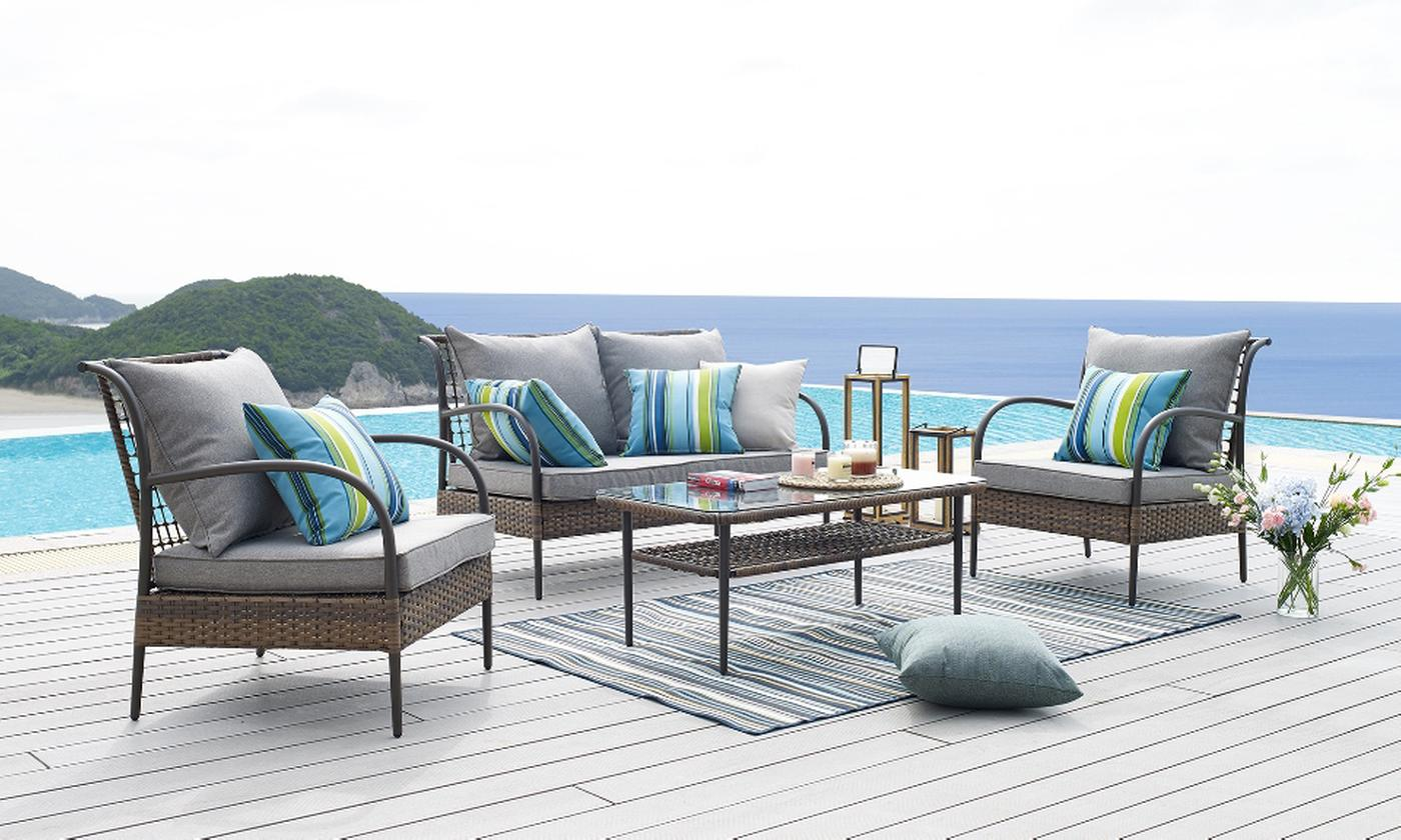 Four-Piece Rattan-Effect Lounge Set with Cushions and Optional Cover (£419.99)