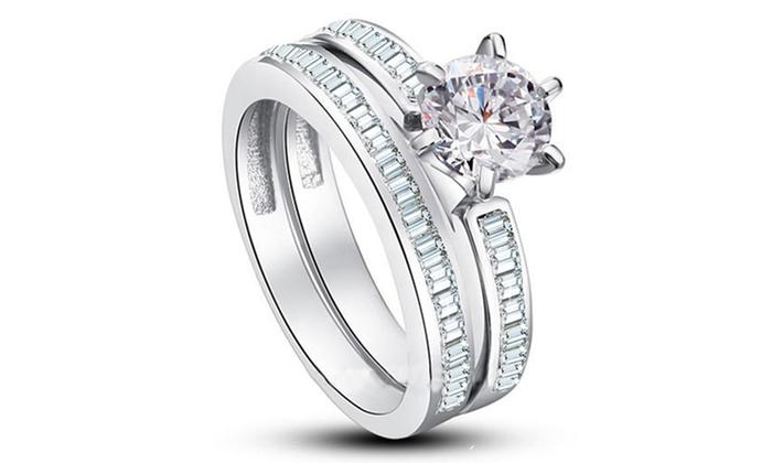 6.00 CTTW Swarovski Elements Brilliant Ring Set by Elements of Love ... b1f35af6cb8f