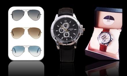 Reloj con opción a gafas de sol para hombre