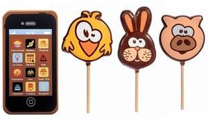 Sucettes et smartphone en chocolat