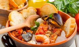 Precisamente a Calafuria: Menu di mare con 5 antipasti, cacciucco illimitato, dolce e vino (sconto fino a 76%)