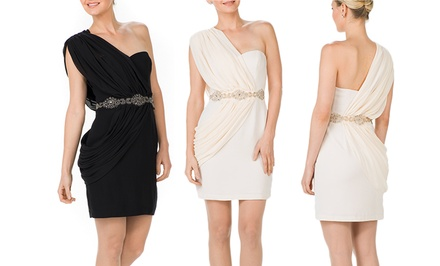 Pearl by Georgina Chapman of Marchesa One-Shoulder Crepe Chiffon Dress | Brought to You by ideel