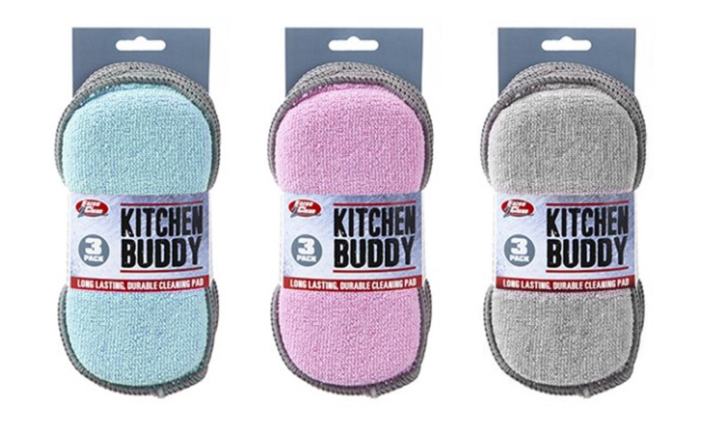 Set of 3, 6 or 9 PMS International Kitchen Buddy Two-in-One Scrub Cleaning Pads